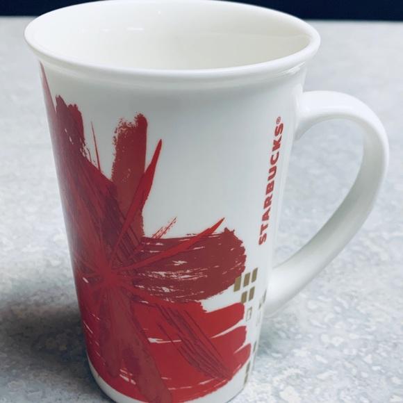 2014 Starbucks Gold Abstract Mug Design Red tdxshQCr